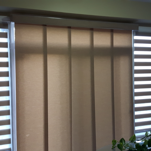 Sliding Panels with matching Zebra shades for Patio Door