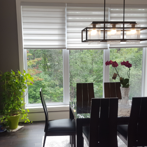 Zebra shades motorized in Dining Area