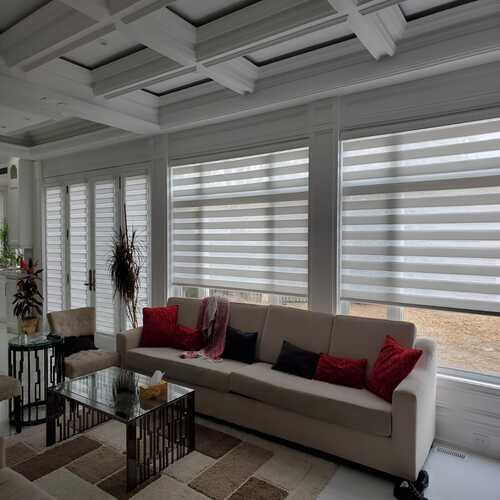 Whole House - Motorized Zebra shades in white material